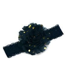 Little Miss Cuttie Lace Elasticated Headband - Black