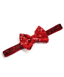 Little Miss Cuttie Sequenced Bow Headband - Red