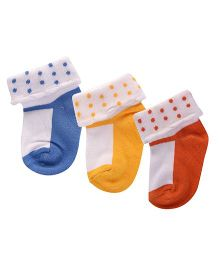 Footprints Super Soft Organic Cotton Socks Pack Of 3 - Blue Orange Yellow