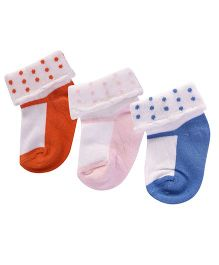 Footprints Super Soft Organic Cotton Socks Pack Of 3 - Blue Orange Pink