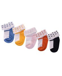 Footprints Super Soft Organic Cotton Socks Pack Of 5 - Multi Color