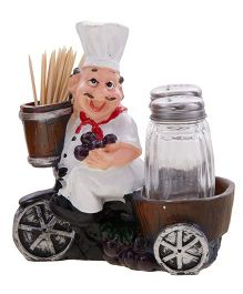 EZ Life Salt Pepper Shaker Holder - Brown & White