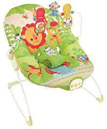 Flyers Bay Fiddle Diddle Baby Bouncer Cum Rocker Lion Print - Green