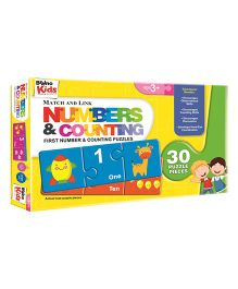 Braino Kids Match And Link Numbers & Counting Puzzles - 30 Pieces