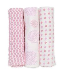 Mi Dulce An'ya Organic Cotton Swaddle Wrapper Pink - Set of 3