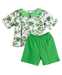 Chic Bambino Indian Flower Design Top & Shorts Set - Green & White