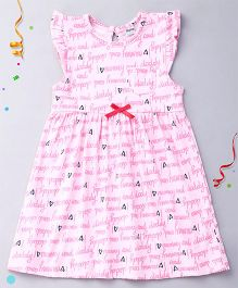 Playbeez Flutter Sleeves Dress I Love Mummy And Daddy Print - Pink