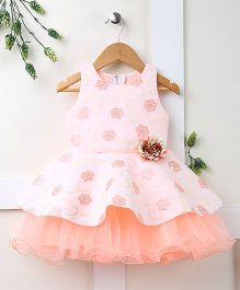 Pebbles Floral Design Partywear Dress - Peach