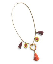 Samoolam Crafts Heart & Crochet & Tassel Necklace - Yellow Red & Orange