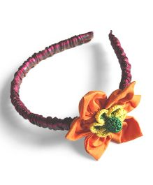 Samoolam Crafts Flower Flet Applique Hairband - Red & Multi Colour