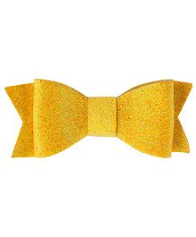 Baby Angel Glittery Bow Hair Clip - Yellow