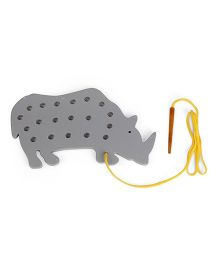 Alpaks Lacing Rhino Toy - Grey