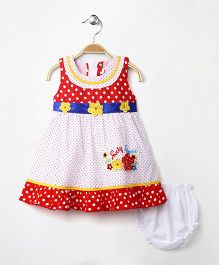M'Princess Basics Flower Applique Cotton Dress - Red