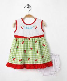 M'Princess Basics Cherry Cotton Dress With Bloomer - Green