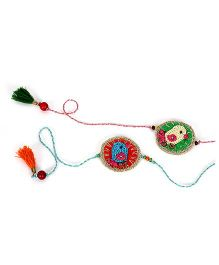 Samoolam Crafts Little Bird Rakhi Set - Green& Blue