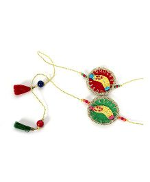 Samoolam Crafts Banana Rakhi Set - Red & Green
