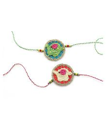 Samoolam Crafts Baby Elephant Rakhi Set - Red & Green