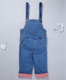 Olele Denim Dungaree With Hem Fold - Blue