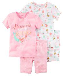 1243f795f09 Carter s 4-Piece Mermaid Snug Fit Cotton Night Suit - Pink
