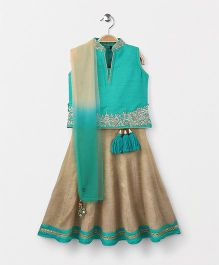 Bluebell Sleeveless Choli And Lehenga With Dupatta - Green & Beige