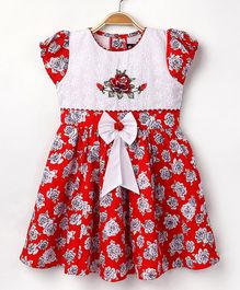 Enfance Core Cap Sleeves Casual Dress - Red