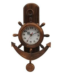 EZ Life Wooden Nautical Clock Anchor - Brown