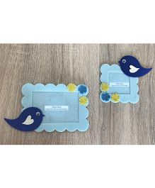 Kalacaree Set Of 2 Bird & Flower Theme Magnetic Photo Frame - Baby Blue