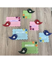 Kalacaree Set Of 6 Bird & Flower Theme Magnetic Photo Frame - Multicolour