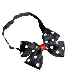 Keira's Pretties Polka Dot Headband With Elegant Bow - Black