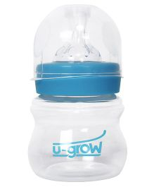 U-grow Wide Neck Polypropylene Feeding Bottle With Slow Flow Teat 125 ml (Color May Vary)