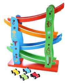 Emob Wooden Car Track Set - Multi Color