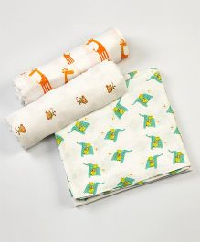 Little West Street Jungle Jive Swaddles Set - White