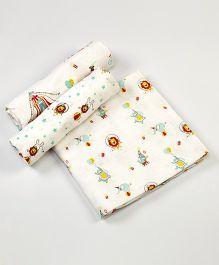 Little West Street Circus Circus Swaddles Set - White