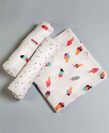 Little West Street Scoops & Smiles Swaddles Set - White