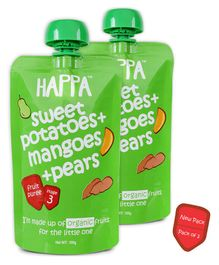 Happa Organic Sweet Potato Pear & Mangoes Fruit & Vegetable Puree Stage 3 Pack of 2 - 100 grams Each