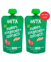 Happa Organic Sweet Potatoes And Spinach Veggie Puree Pack of 2 - 100 gm each