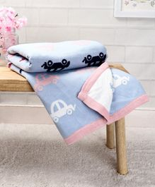 Babyhug Premium Knitted Cotton All Season Blanket Beep Beep Car Print