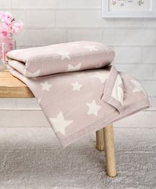 Babyhug Premium Knitted Cotton All Season Blanket Star Print - Beige White