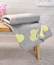 Babyhug Premium Knitted Cotton All Season Blanket Cloud Print - Grey Multicolour