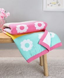 Babyhug Premium Coast Flower Print Cotton Knitted All Seasons Blanket - Pink White