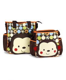 Mother Bag Set With Diaper Changing Mat Printed - Coffee Brown