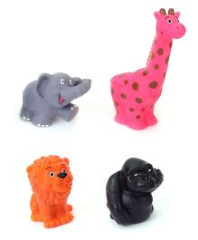 Speedage Animal Set Jr PVC Squeezy Toys Pack of 4 (Color May Vary)