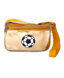Li'll Pumpkins FootBall Metallic Sling Pouch - Golden