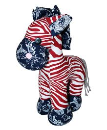 Abracadabra Zebra Soft Toy Red Blue - 35 cm