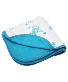Kaarpas Premium Organic Cotton 3 Layered Muslin Blanket Sparrow Print Medium - White & Blue