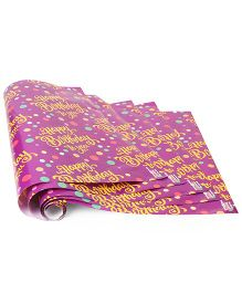 Karmallys Gift Wrapper Happy Birthday Print Pack Of 5 - Purple