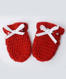 Love Crochet Art Crochet Baby Mittens For Infant Baby - Red