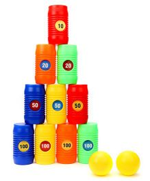 Ratnas Pyramid Cans Bowling Game Multicolor - 12 Pieces