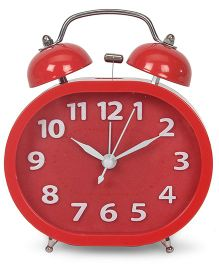 Twin Bell Analog Alarm Clock - Red
