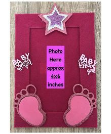Kalacaree Its A Baby Girl Theme Magnetic Photo Frame - Pink